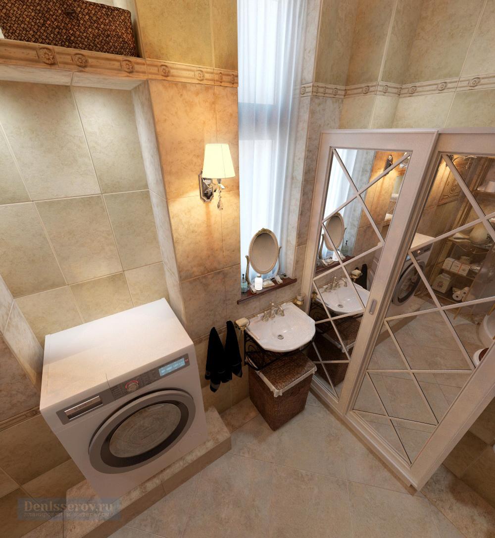 1. Ванна в классическом стиле с золотой плиткой