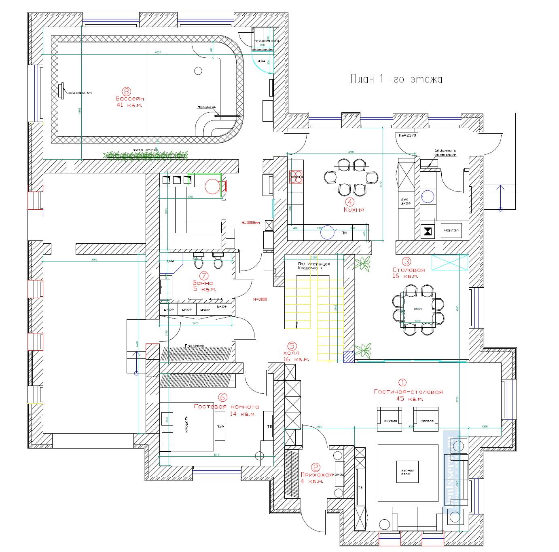 планировка 1 этажа загородного дома 300 кв.м.