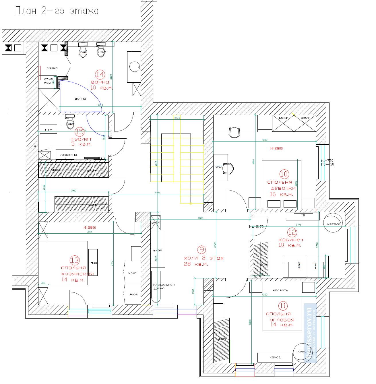 планировка 2 этажа загородного дома