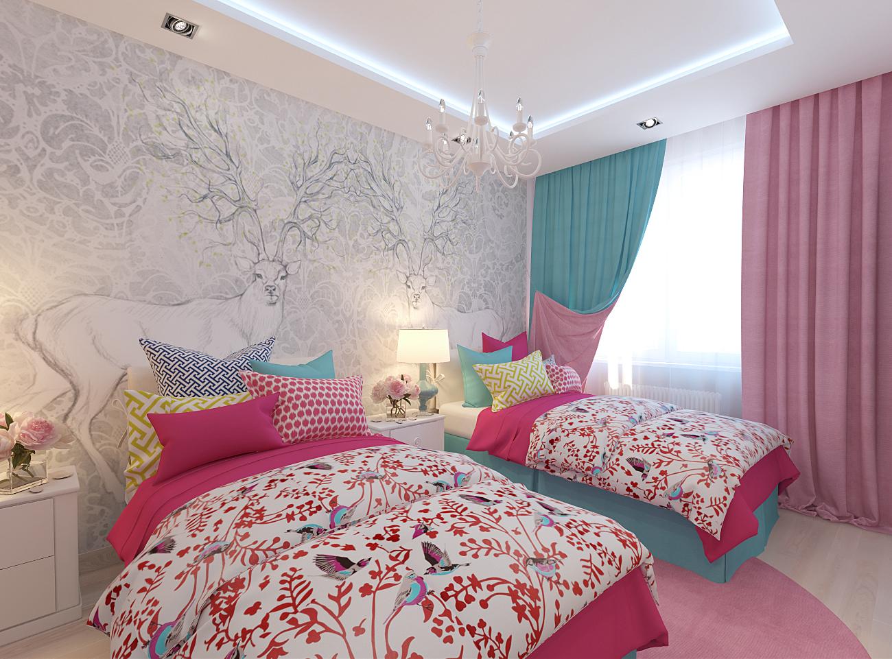 дизайн спальни для двух девочке в розовом цвете