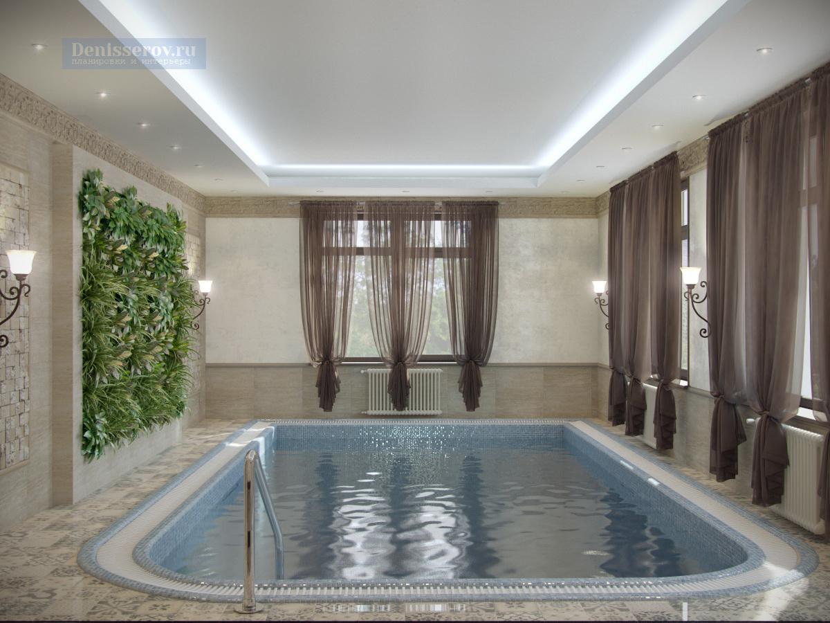 бассейн в загородном доме в классическом стиле