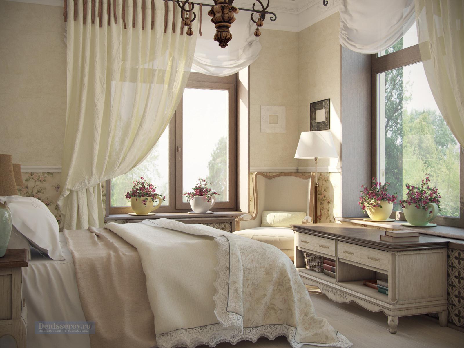 спальня в бежевом цвете в колониальном стиле