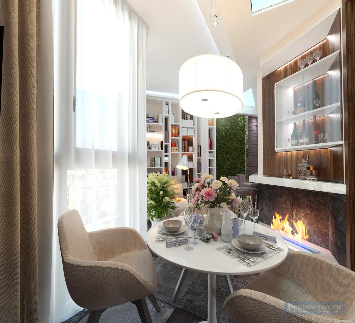 дизайн балкона совмещеного с кухней