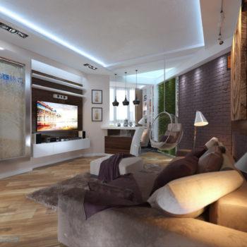 дизайн гостиной в современном стиле 18 кв.м.