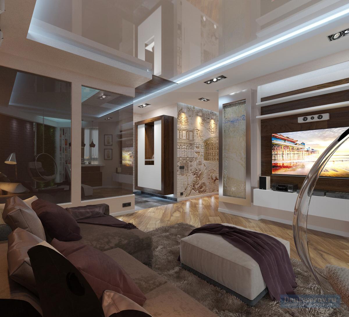 дизайн гостиной в двухкомнатной квартире 90 кв.м.