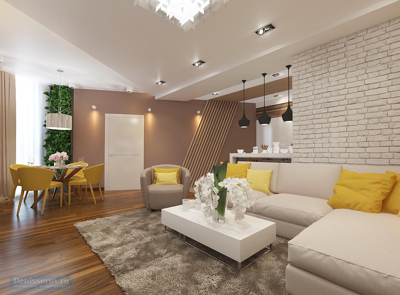 дизайн гостиной 35 кв.м. в современном стиле
