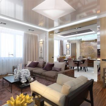 дизайн кухни-гостиной 25 кв.м.