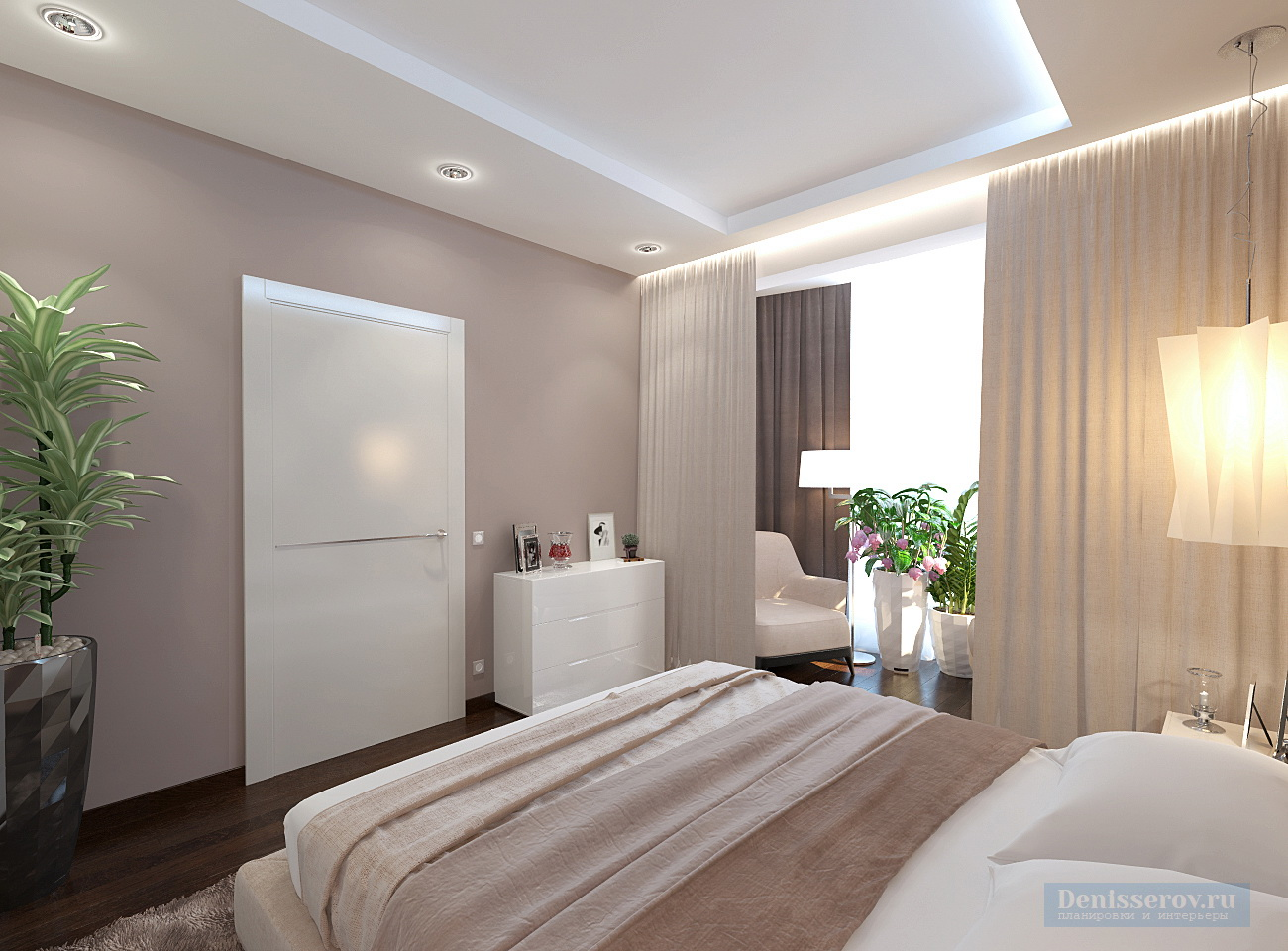 дизайн спальни 17 кв.м. в стиле минимализм