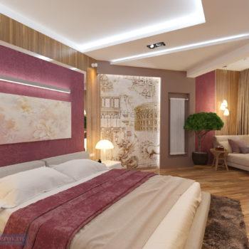 дизайн спальняи 20 кв.м. с балконом