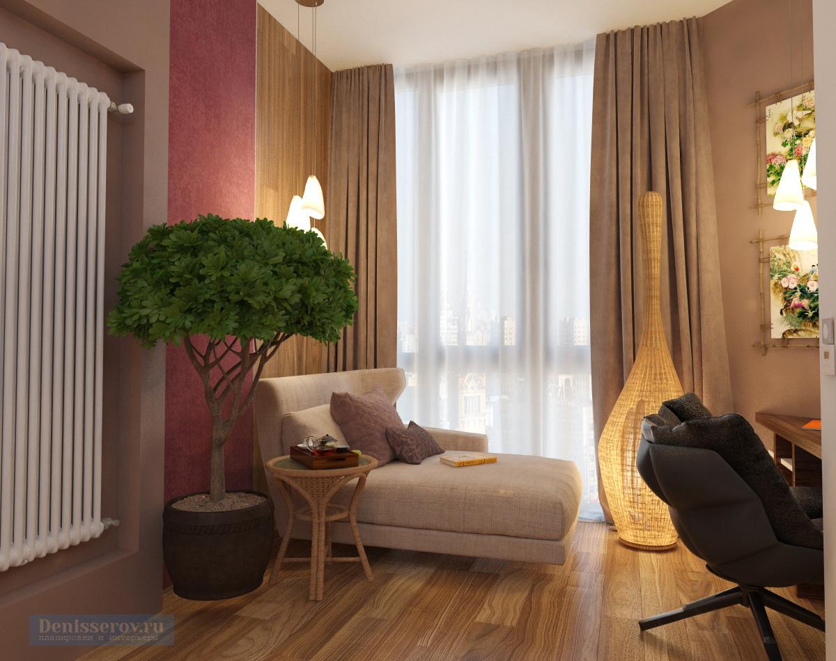 дизайн спальни совмещенной с балконом