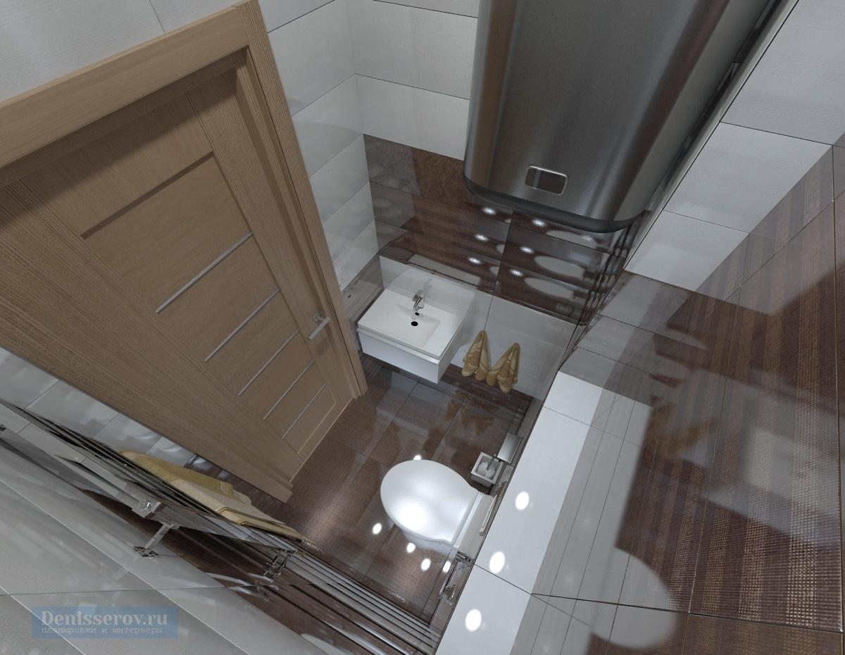 туалет 1 кв.м. в коричневом цвете