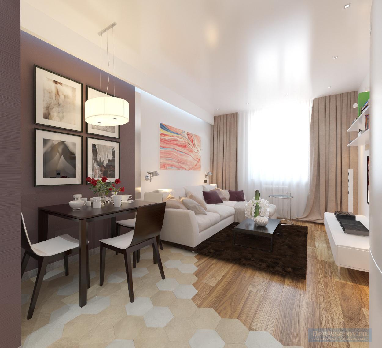 гостиная с кухней в двухкомнатной квартире