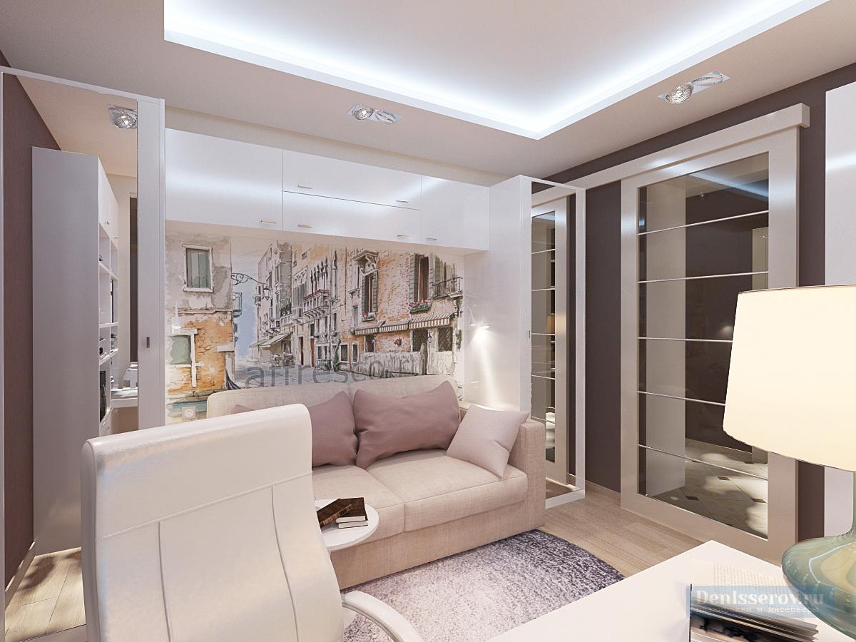 гостиная в современном стиле в однокомнатной квартире 44 кв.м.