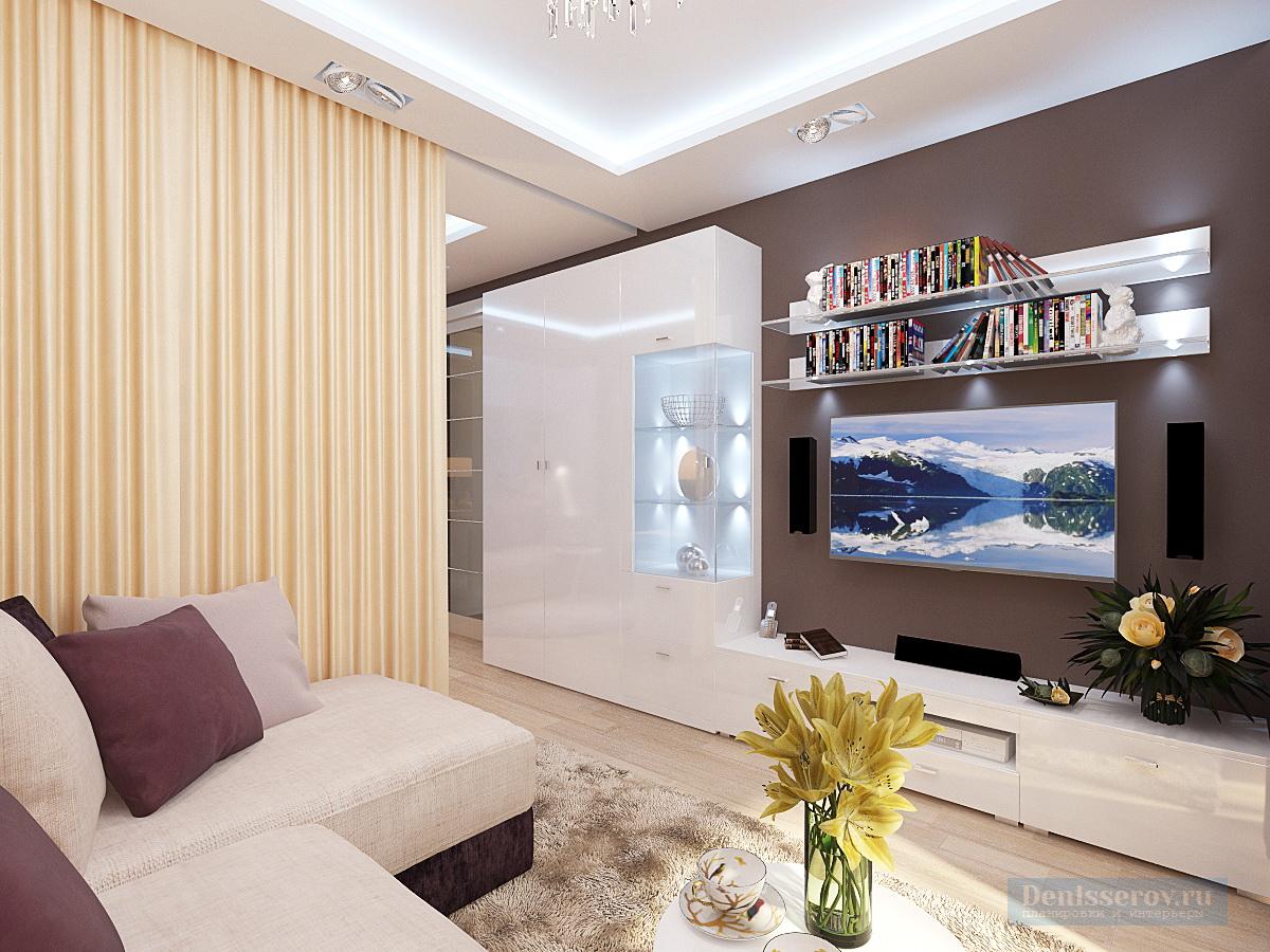 современная гостиная в однокомнатной квартире 40 кв.м.