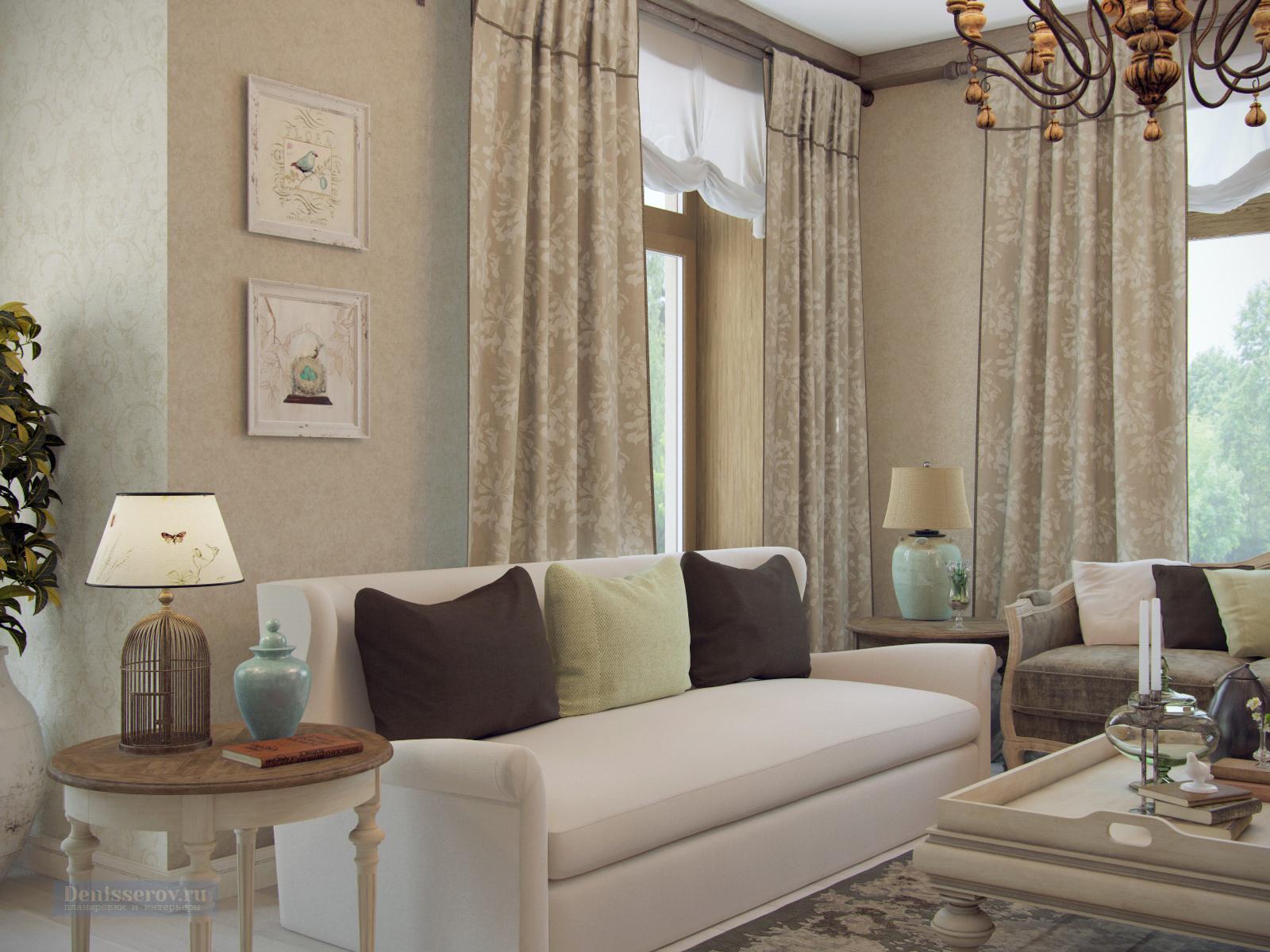 гостиная в коттедже в стиле прованс