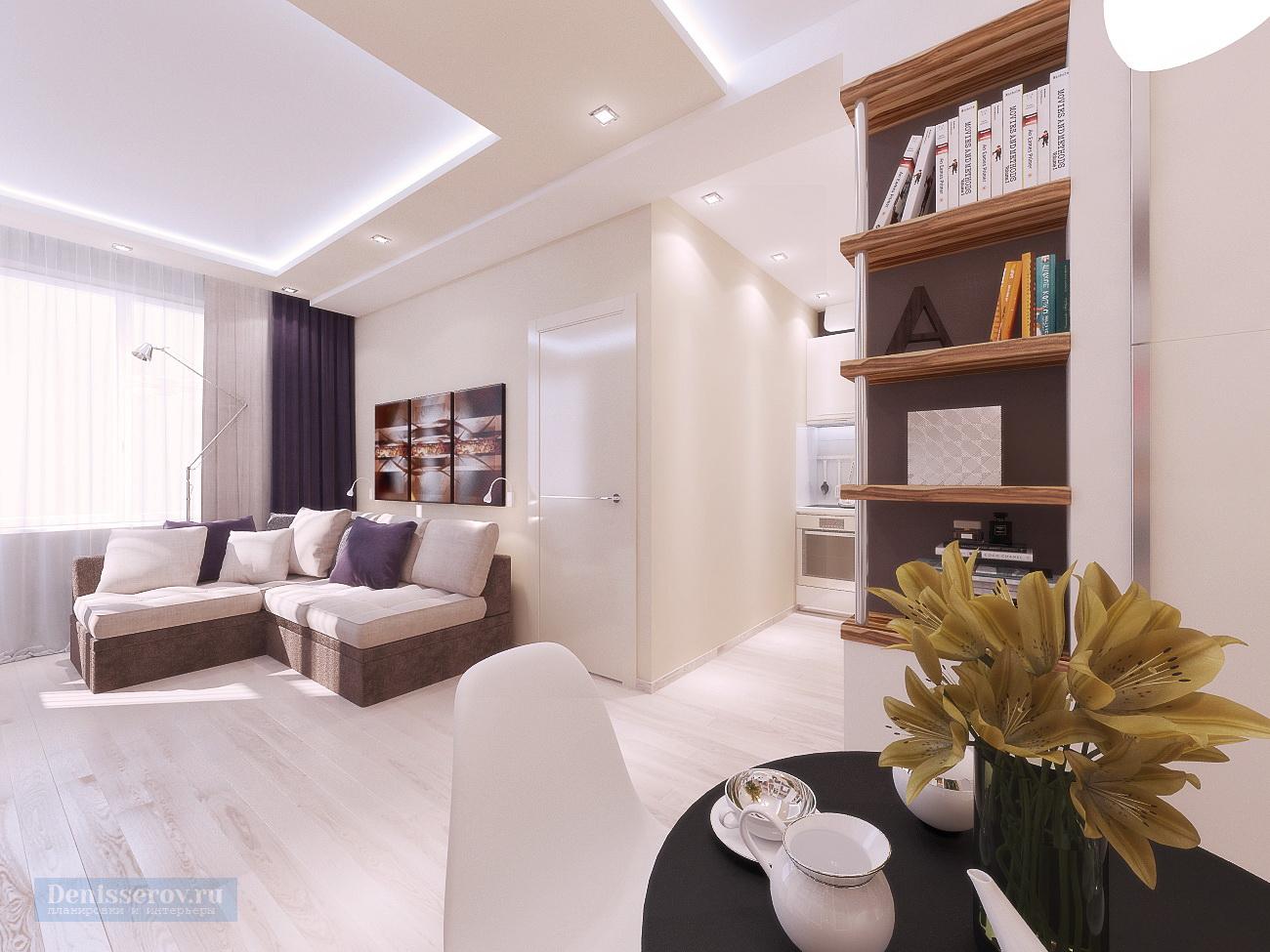 Дизайн проект 1 комнатной квартиры 35 кв.м. с современном стиле
