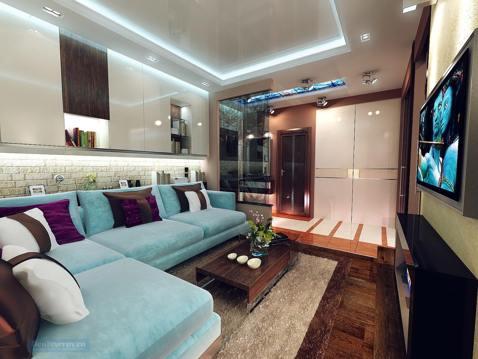 гостиная в однокомнатной квартире 40 кв.м.