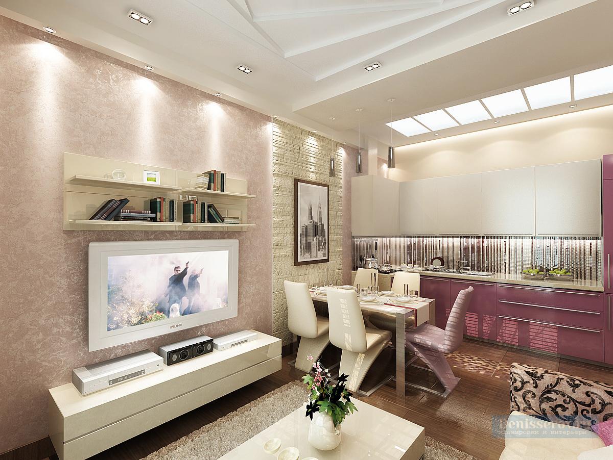 Дизайн проект однокомнатной квартиры 50 кв.м. в Москве