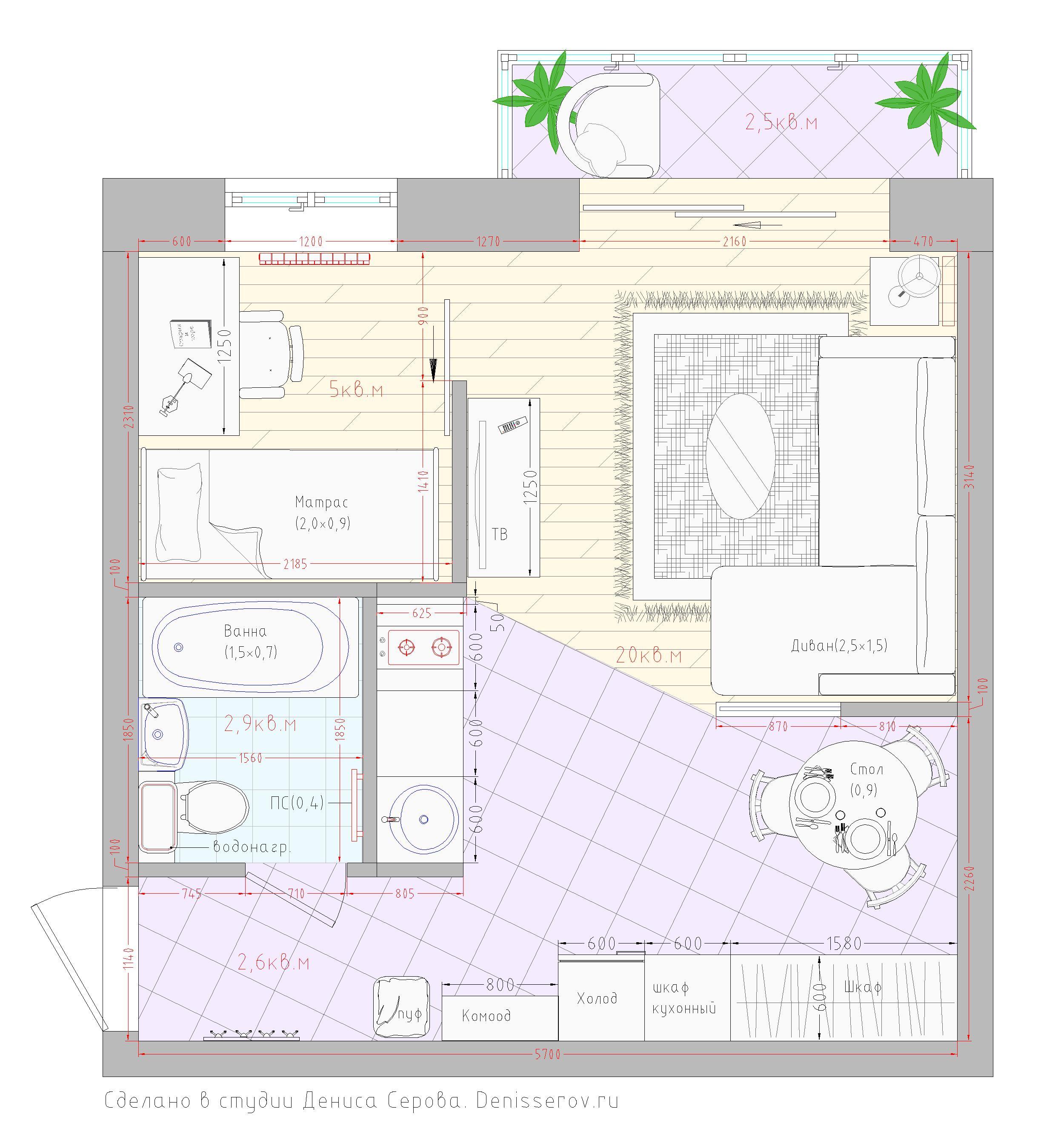 планировка однокомнатной хрущевки с балконом