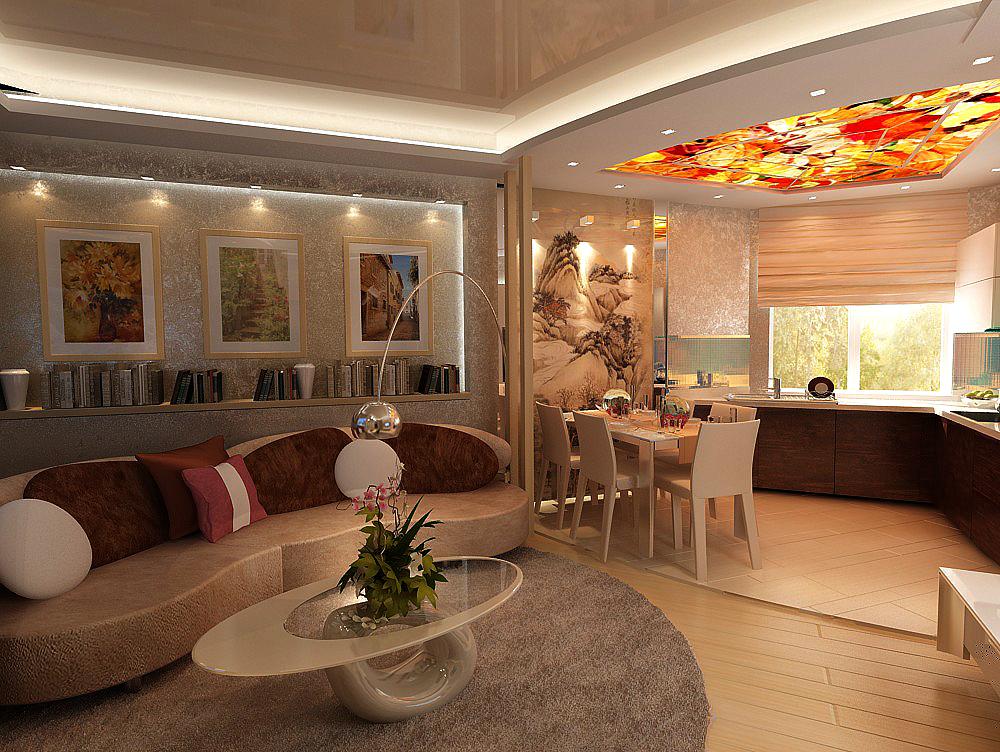 кухня гостиная 30 кв.м. в бежевом цвете