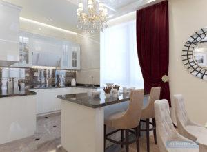 гостиная-кухня 30 кв.м. в классическом стиле