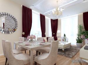 гостиная в классическом стиле 30 кв.м. с кухней
