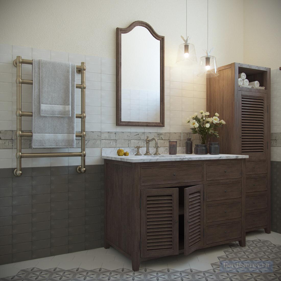туалет 4 кв.м. в стиле прованс