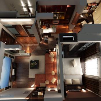 однокомнатная квартира 40 кв.м. вид сверху