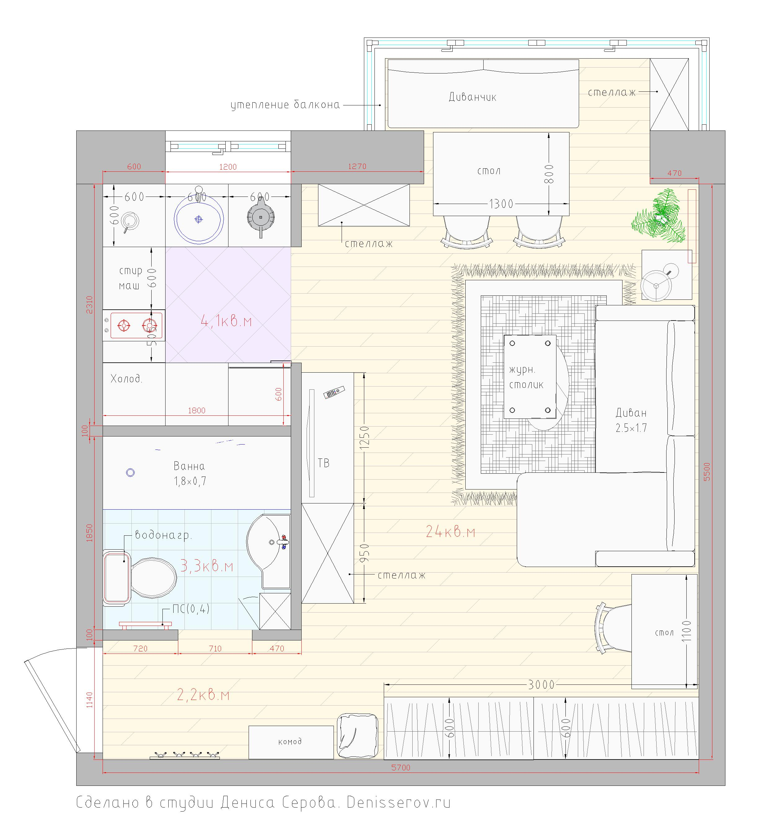 планировка хрущевки 1 комната размеры