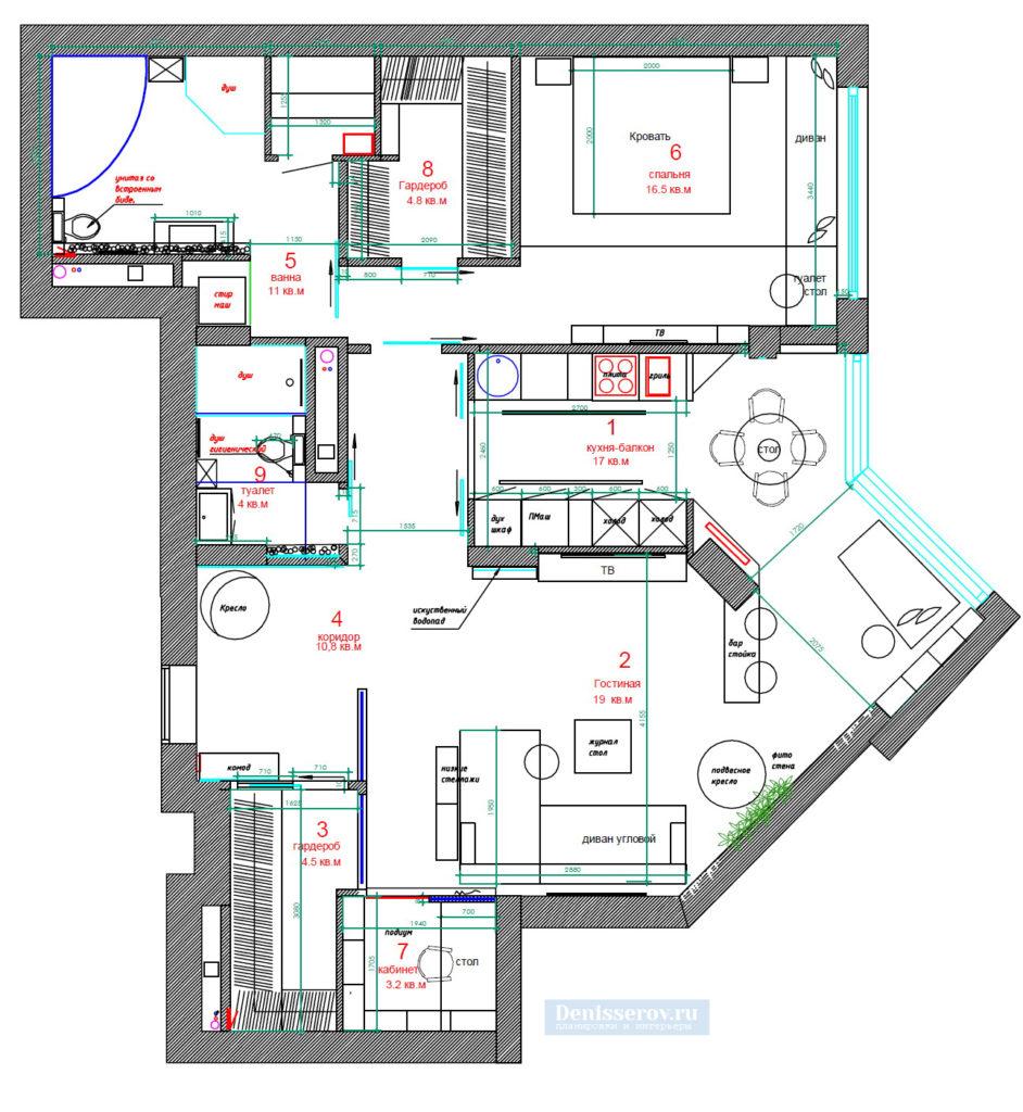 дизайн проект двухкомнатной квартиры 90 кв.м. планировка