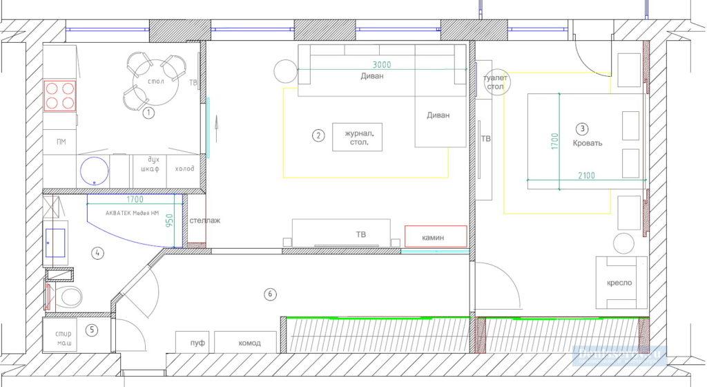 планировка 50 кв.м. в двухкомнатной квартиры