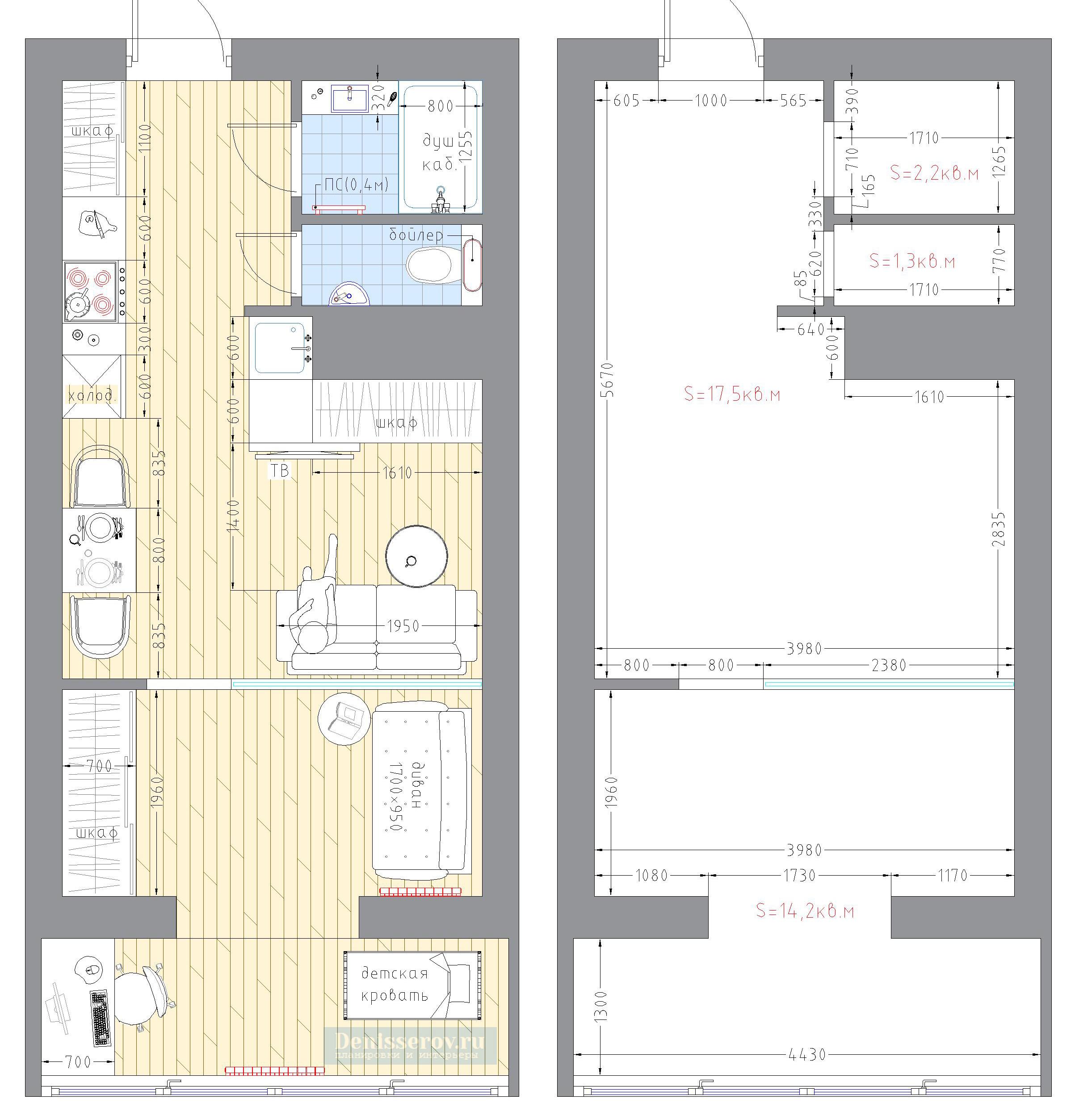 Дизайн проект для квартиры 65 м2 с небольшим бюджетом on