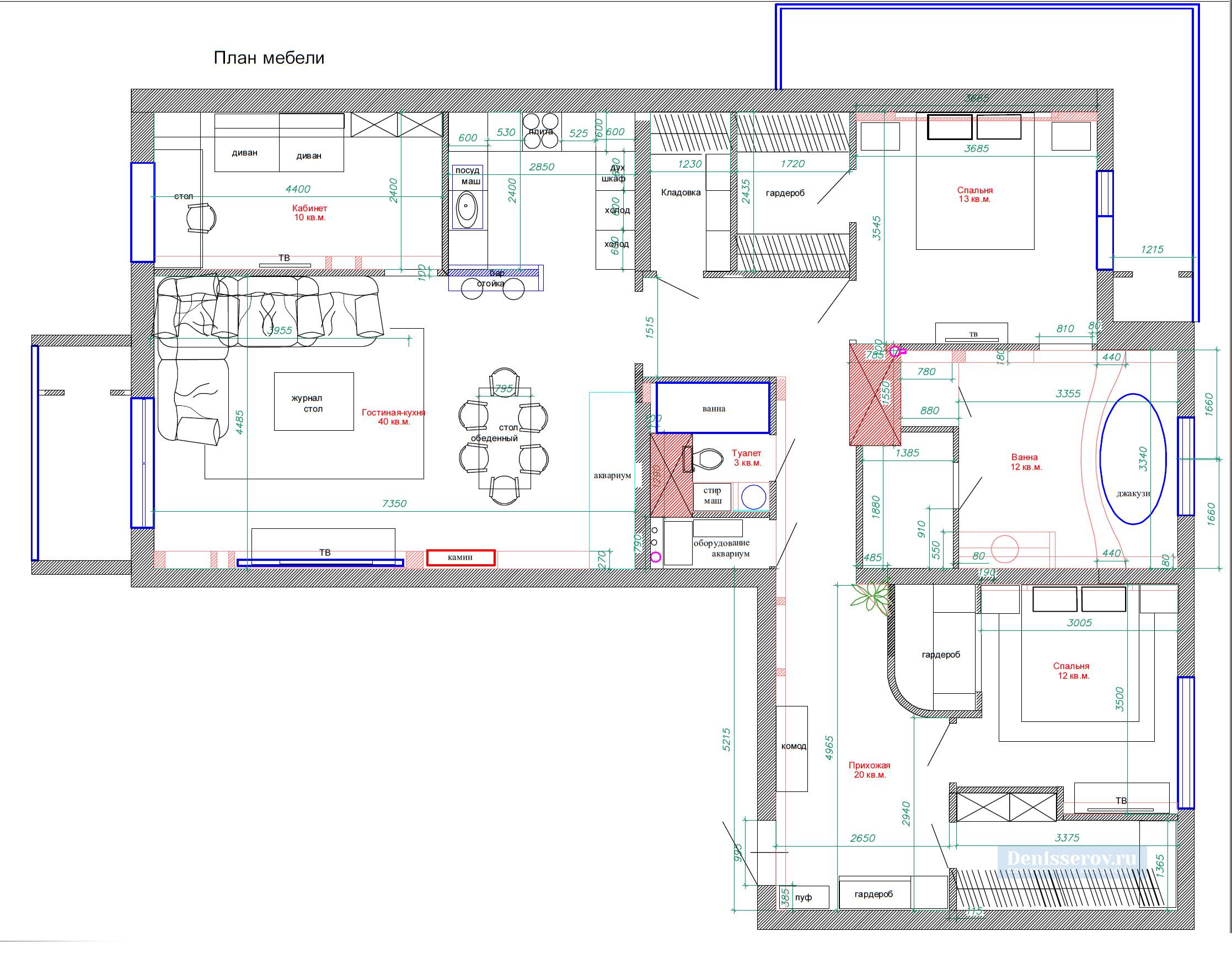 планировка 3 комнатной квартиры 140 кв.м.