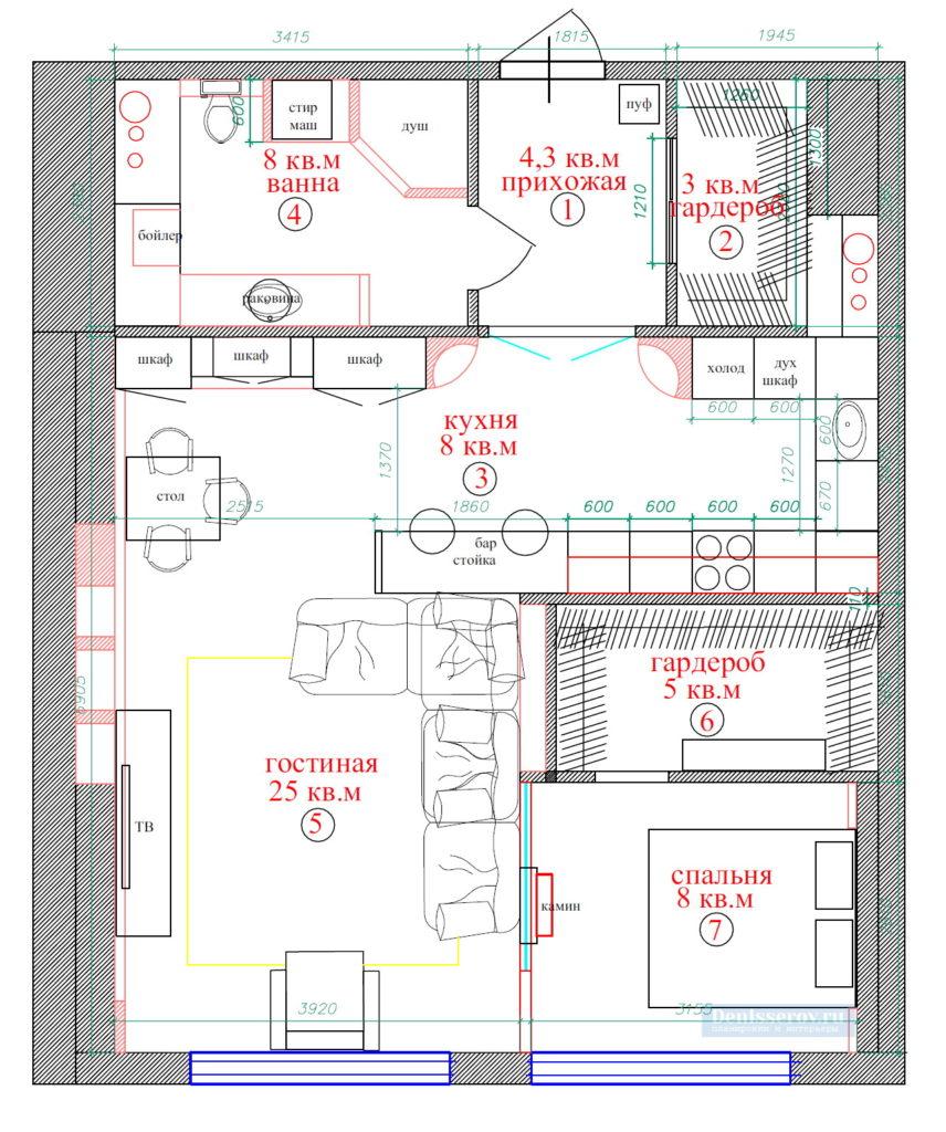 планировка однокомнатной квартиры с спальней