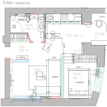 планировка 1 комнатной квартиры 40 кв.м.