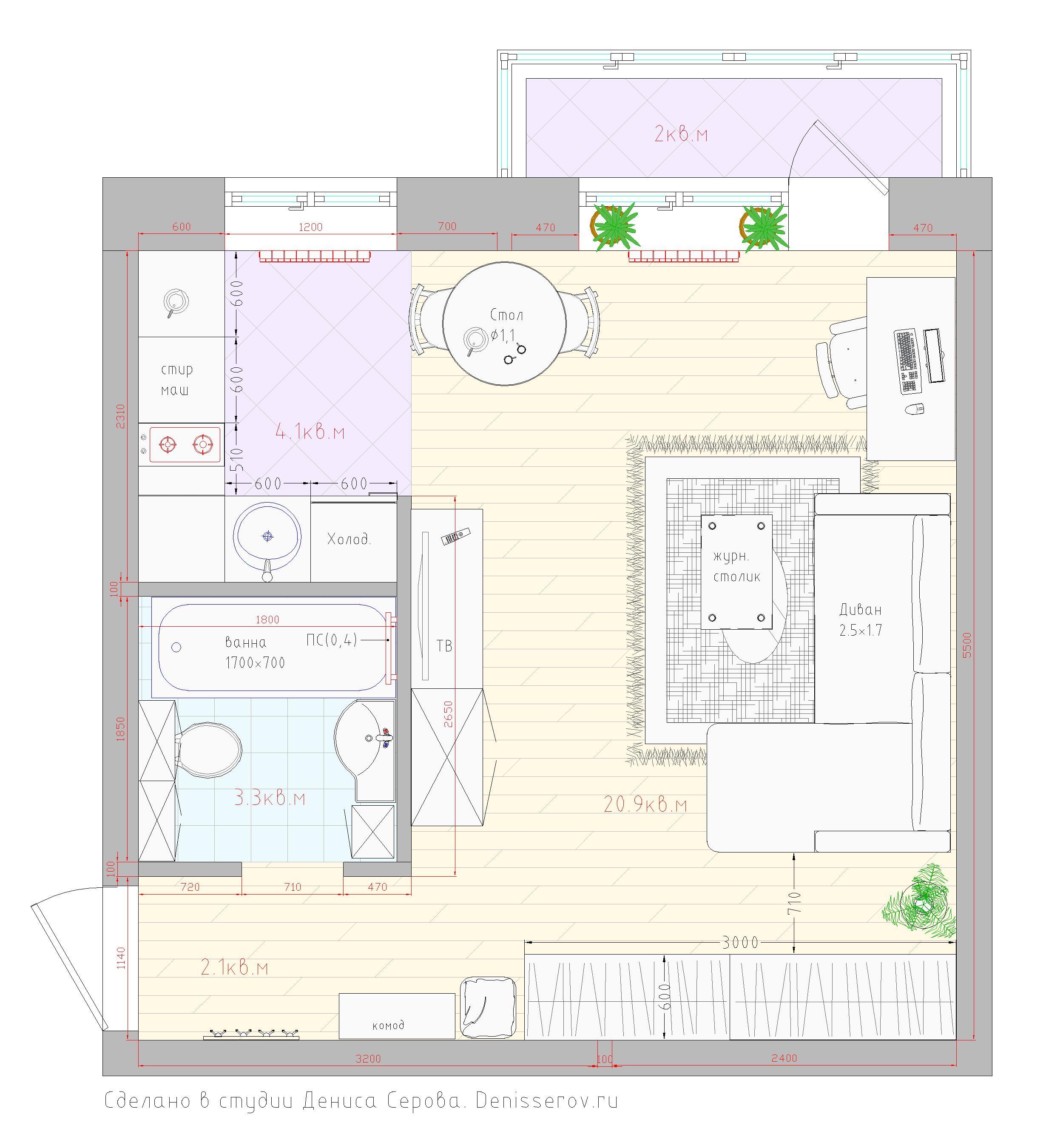 планировка однокомнатной квартиры в хрущевке