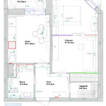 планировка однокомнатной квартиры 45 кв.м.