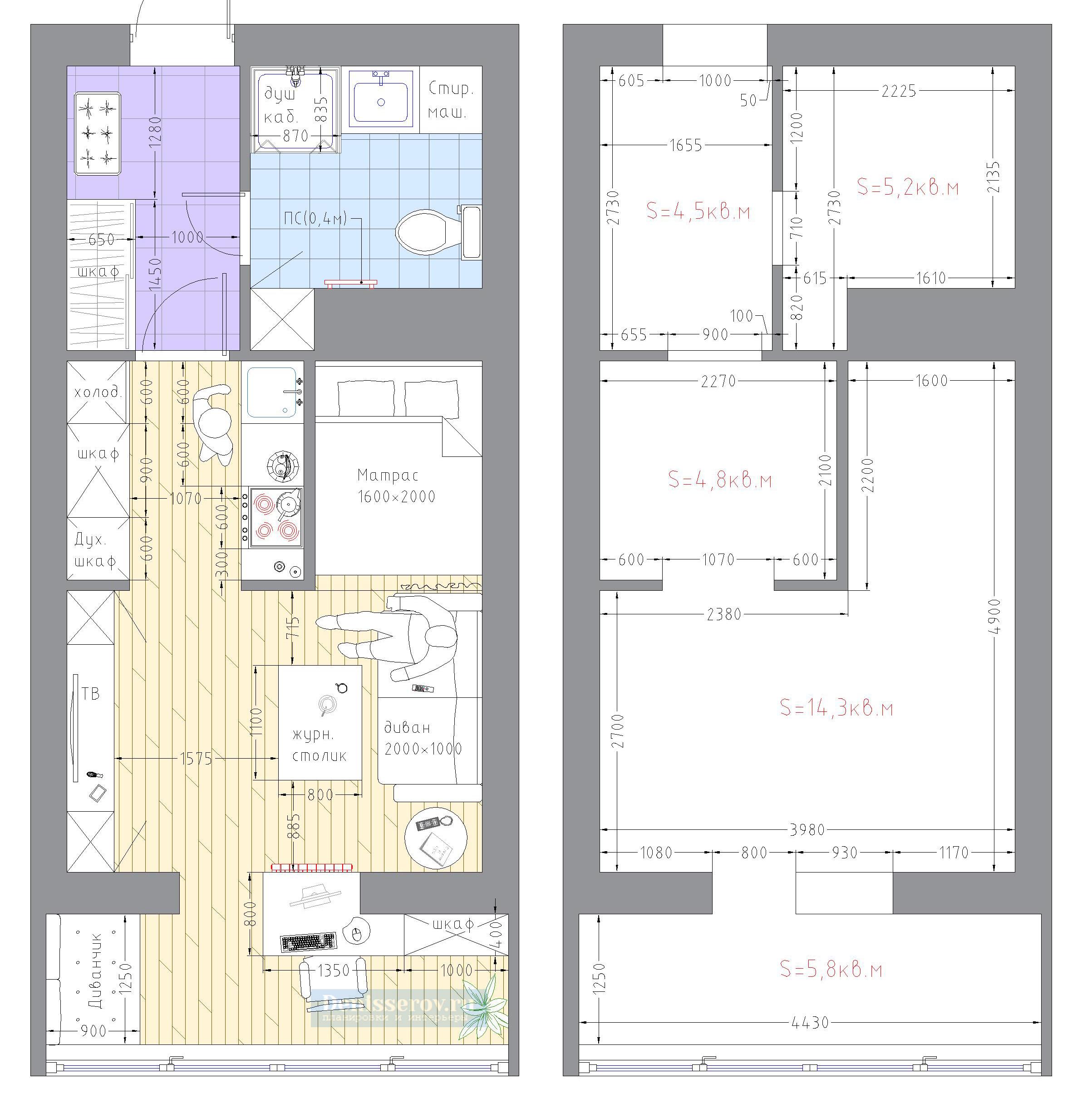 план квартиры студии 30 кв.м.