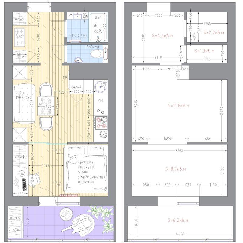 план студии 30 метров кв