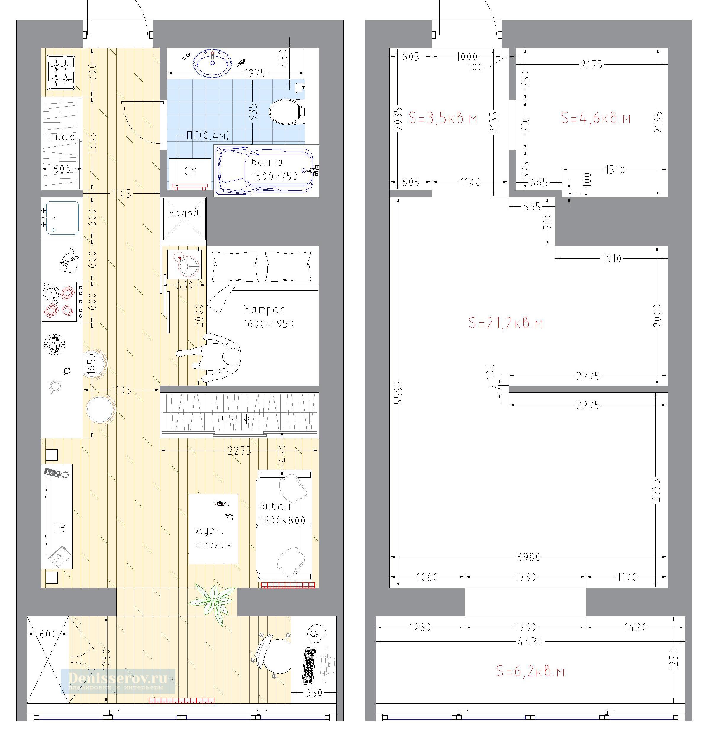 квартира студия с планировкой 30 кв.м.