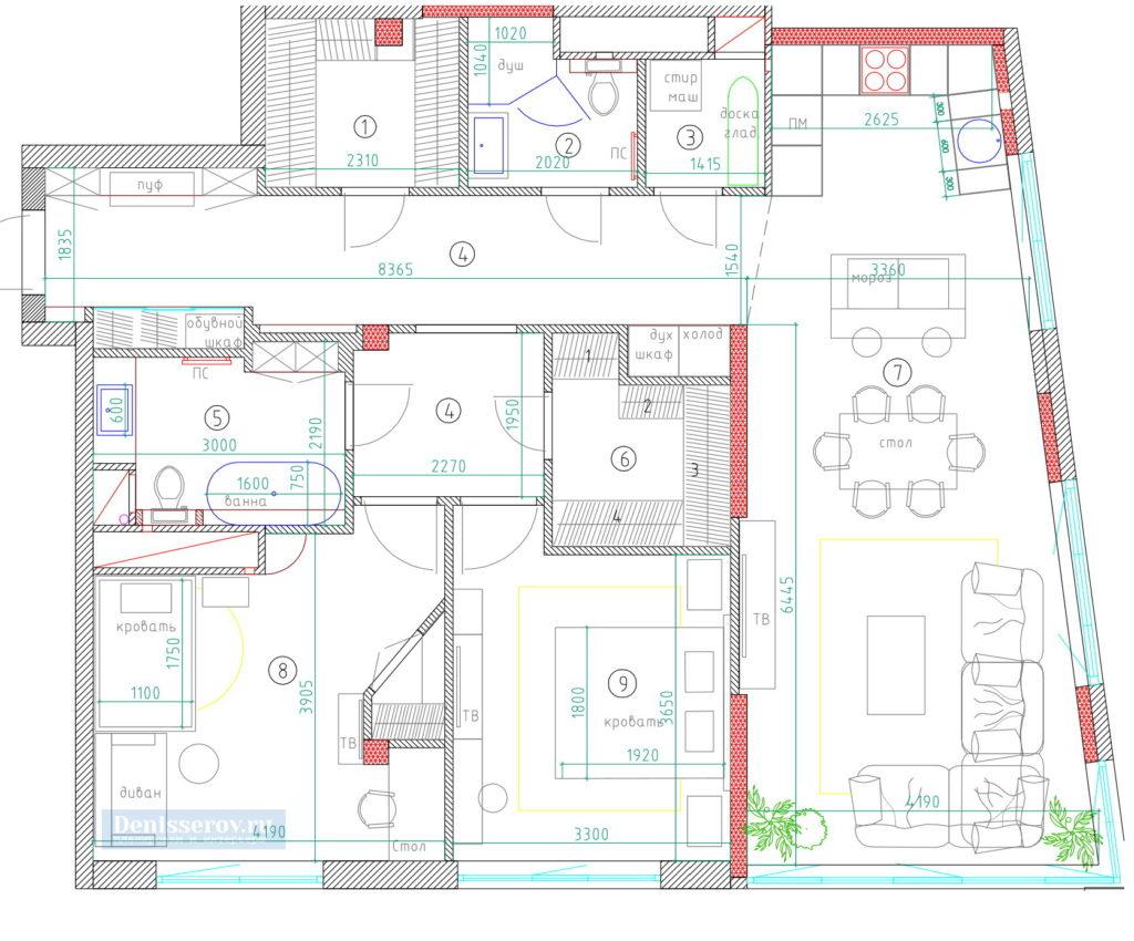 планировка 3 комнатной квартиры 100 кв.м.