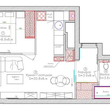 Планировка 1 комнатной квартиры площадью 35 кв.м.