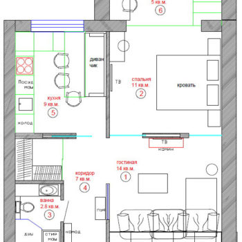 Планировка однокомнатной квартиры 48 кв.м.