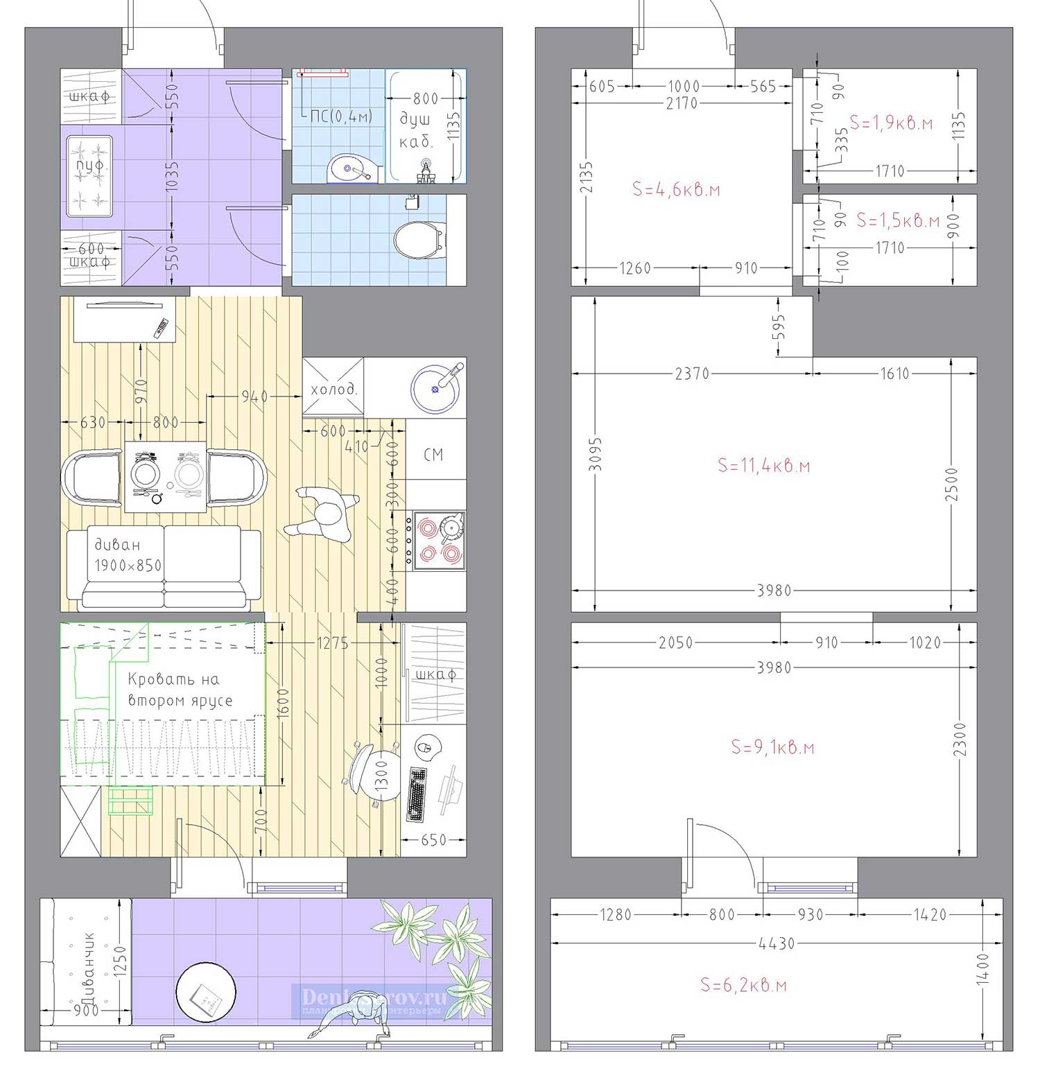 Планировка квартиры студии 30 кв.м. с фото