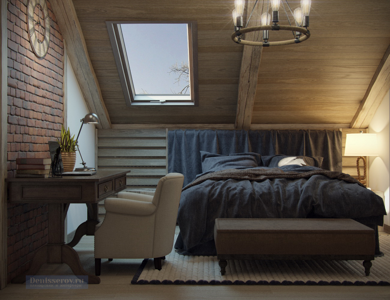 спальня в стиле лофт 16 кв.м.