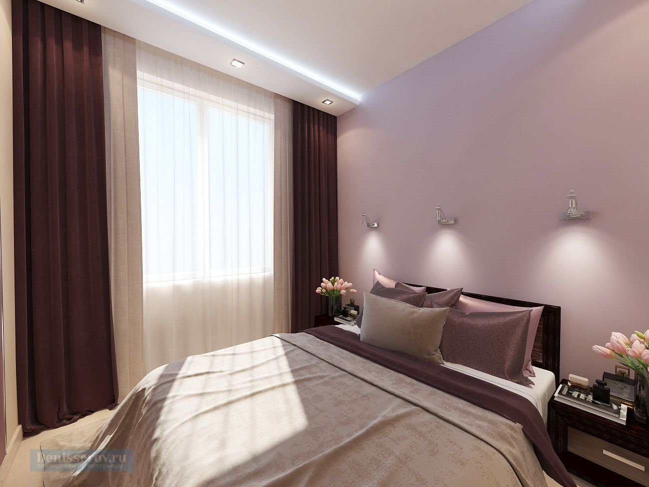 дизайн спальни 9 кв.м. в современном стиле