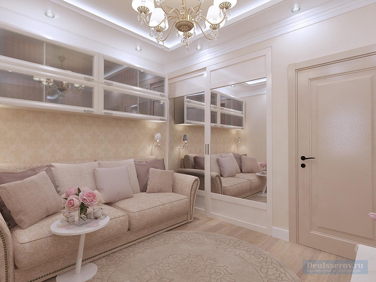 гостиная в 1 комнатной квартире 45 кв.м.