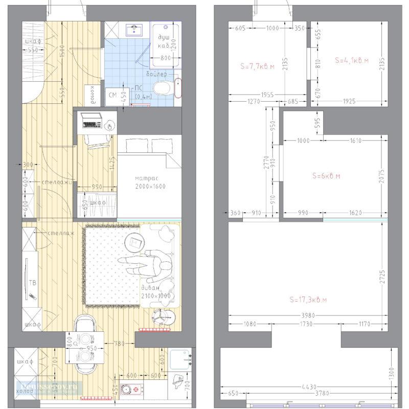 квартира-студия 30 кв.м. план