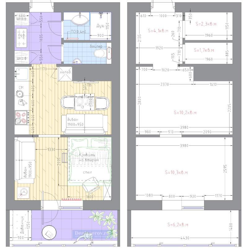 планировка квартиры площадью 30 кв.м.