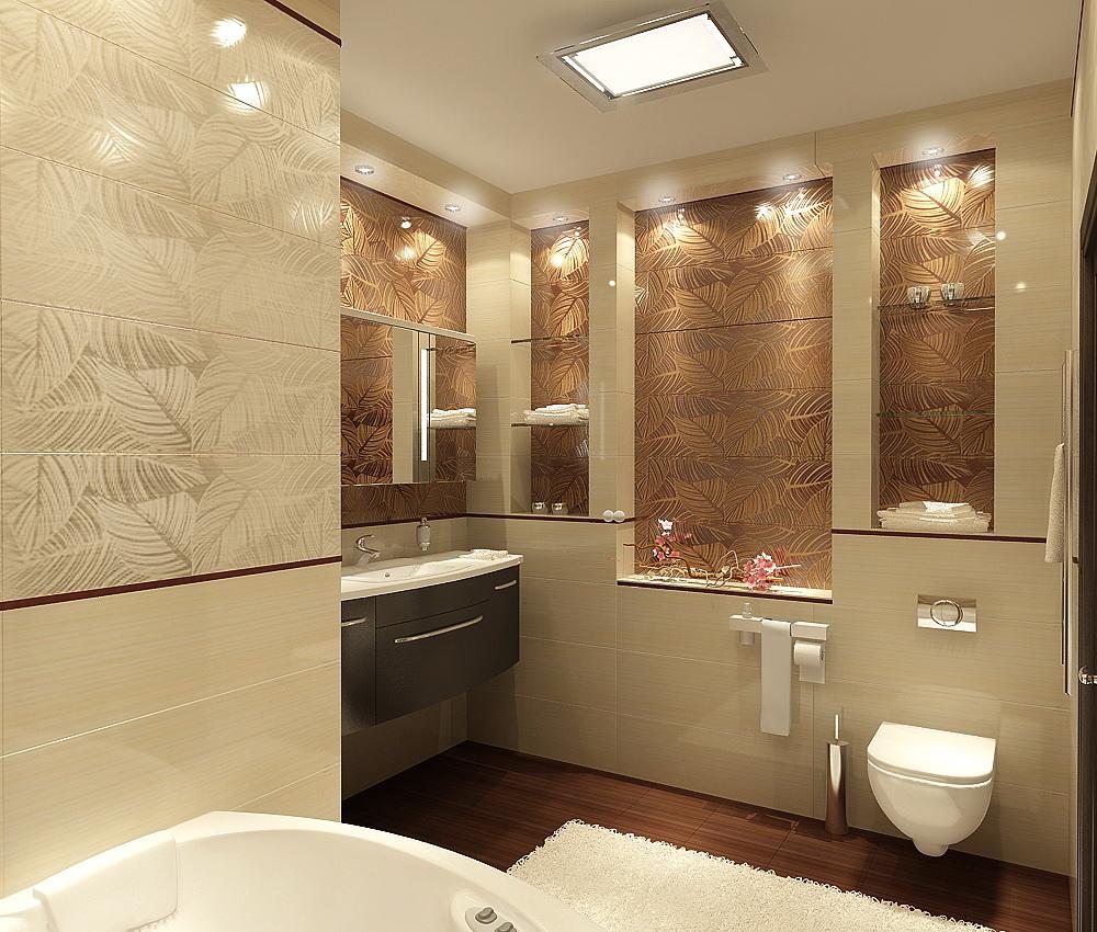 ванна 3d 7 кв.м. бежево-коричневая плитка